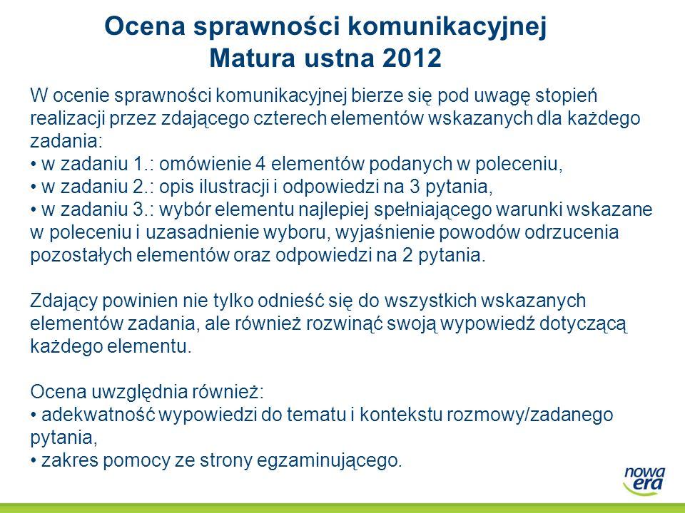 Ocena umiejętności językowych Matura ustna 2012 Ocena umiejętności językowych dokonywana jest dla całej wypowiedzi zdającego, począwszy od rozmowy wstępnej.