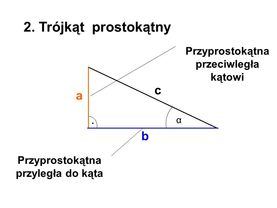 a b c 2. Trójkąt prostokątny α Przyprostokątna przeciwległa kątowi Przyprostokątna przyległa do kąta