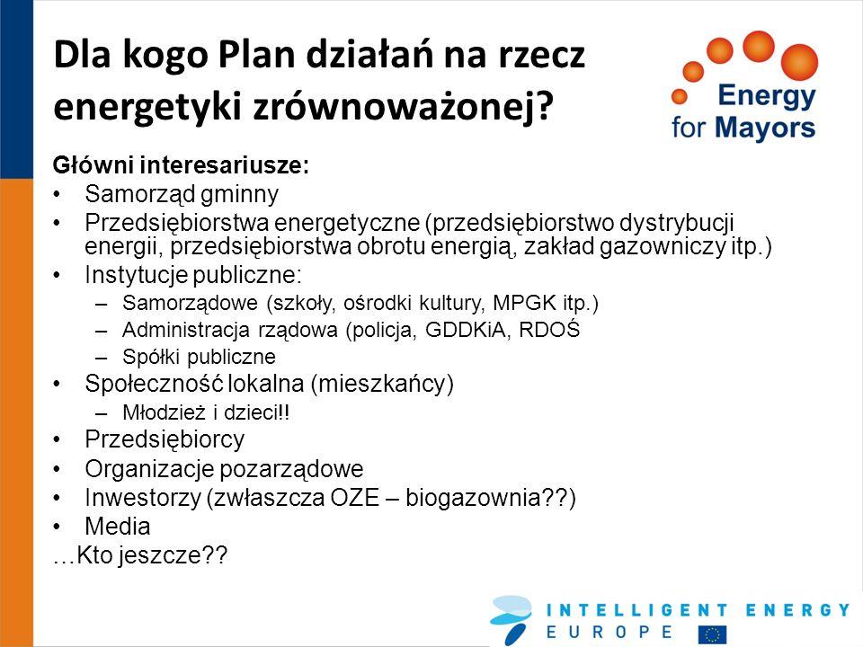 Dla kogo Plan działań na rzecz energetyki zrównoważonej? Główni interesariusze: Samorząd gminny Przedsiębiorstwa energetyczne (przedsiębiorstwo dystry