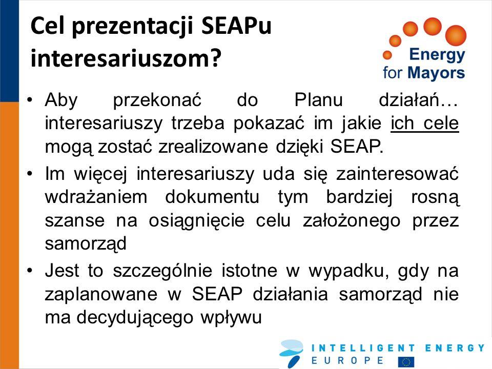 Cel prezentacji SEAPu interesariuszom? Aby przekonać do Planu działań… interesariuszy trzeba pokazać im jakie ich cele mogą zostać zrealizowane dzięki