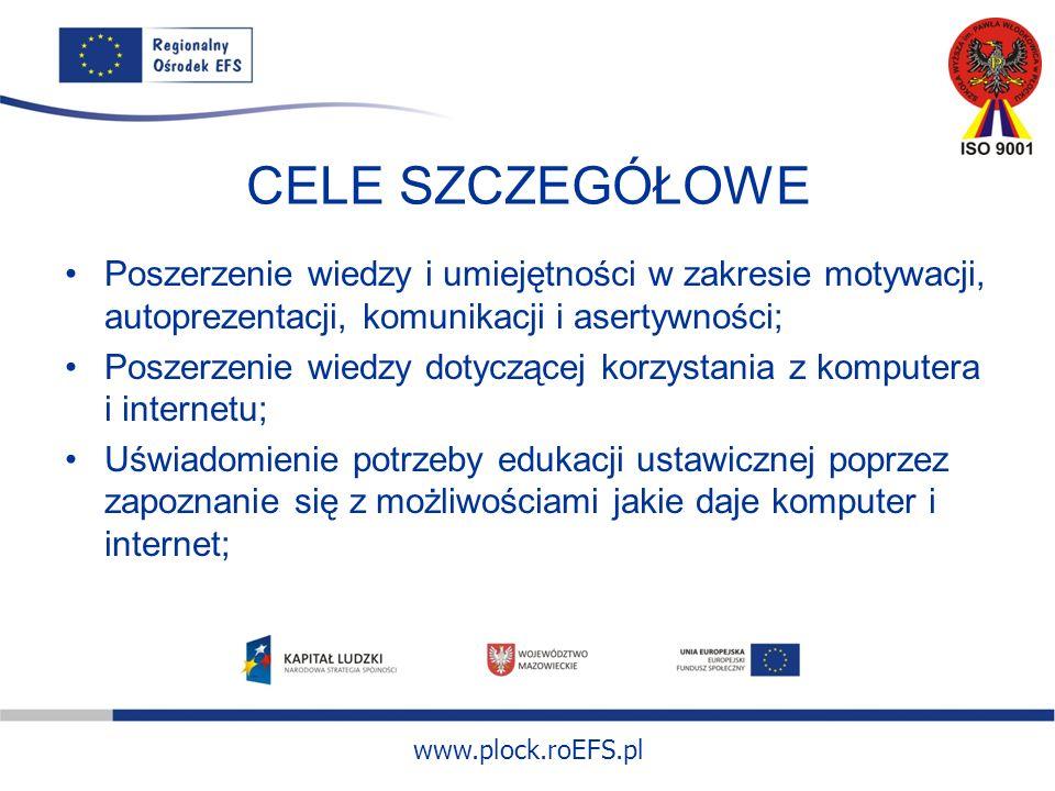 www.plock.roEFS.pl CELE SZCZEGÓŁOWE Poszerzenie wiedzy i umiejętności w zakresie motywacji, autoprezentacji, komunikacji i asertywności; Poszerzenie wiedzy dotyczącej korzystania z komputera i internetu; Uświadomienie potrzeby edukacji ustawicznej poprzez zapoznanie się z możliwościami jakie daje komputer i internet;