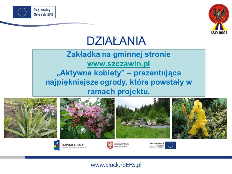www.plock.roEFS.pl DZIAŁANIA Zakładka na gminnej stronie www.szczawin.pl www.szczawin.pl Aktywne kobiety – prezentująca najpiękniejsze ogrody, które powstały w ramach projektu.