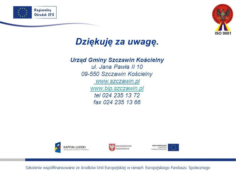 Szkolenie współfinansowane ze środków Unii Europejskiej w ramach Europejskiego Funduszu Społecznego Dziękuję za uwagę.