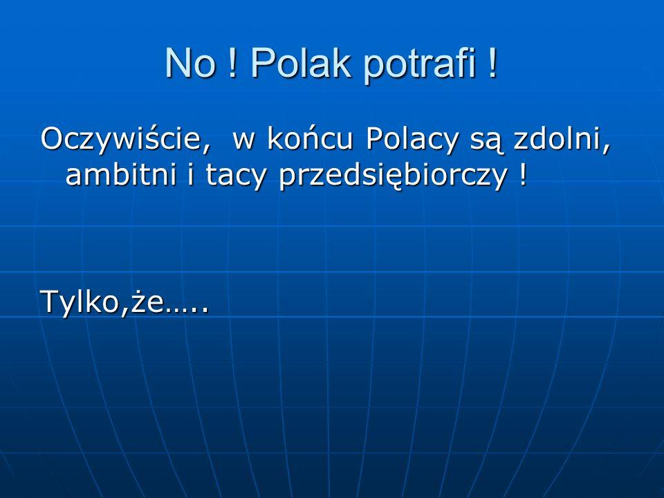 No ! Polak potrafi ! Oczywiście, w końcu Polacy są zdolni, ambitni i tacy przedsiębiorczy ! Tylko,że…..