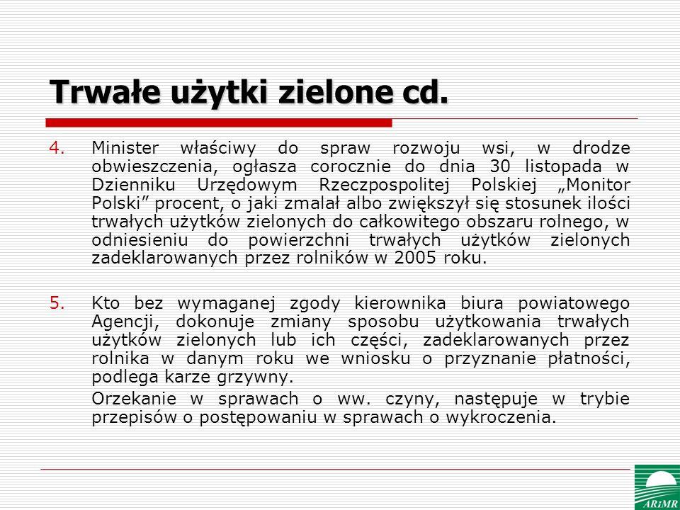 Trwałe użytki zielone cd. 4.Minister właściwy do spraw rozwoju wsi, w drodze obwieszczenia, ogłasza corocznie do dnia 30 listopada w Dzienniku Urzędow