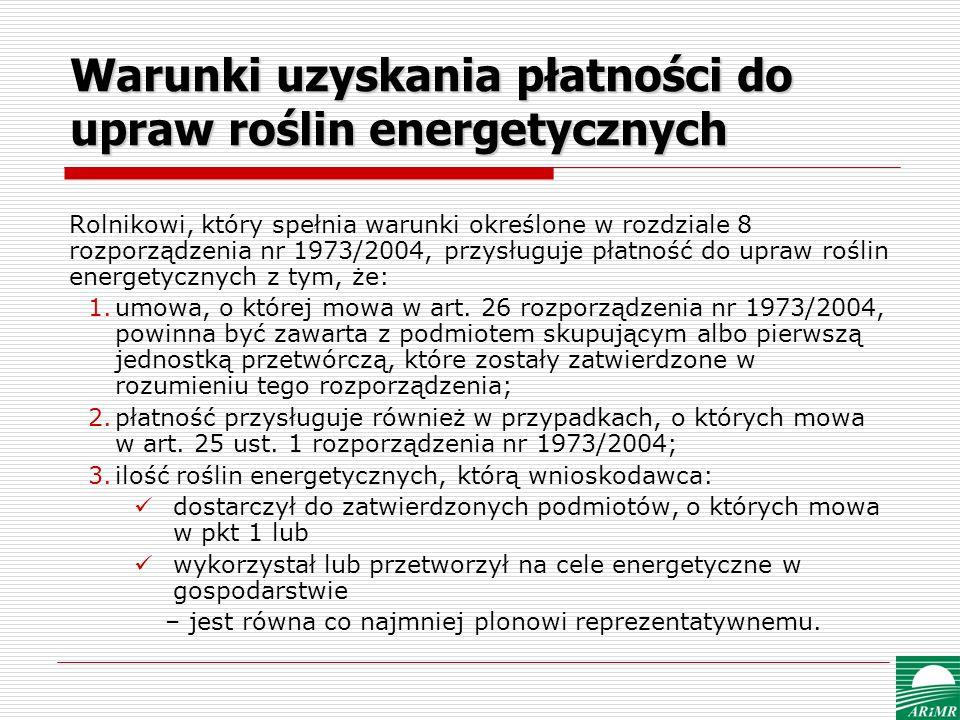 Warunki uzyskania płatności do upraw roślin energetycznych Rolnikowi, który spełnia warunki określone w rozdziale 8 rozporządzenia nr 1973/2004, przys