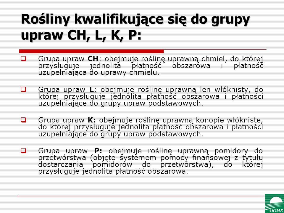 Rośliny kwalifikujące się do grupy upraw CH, L, K, P: Grupa upraw CH: obejmuje roślinę uprawną chmiel, do której przysługuje jednolita płatność obszar