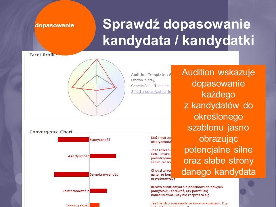 Sprawdź dopasowanie kandydata / kandydatki Audition wskazuje dopasowanie każdego z kandydatów do określonego szablonu jasno obrazując potencjalne silne oraz słabe strony danego kandydata dopasowanie