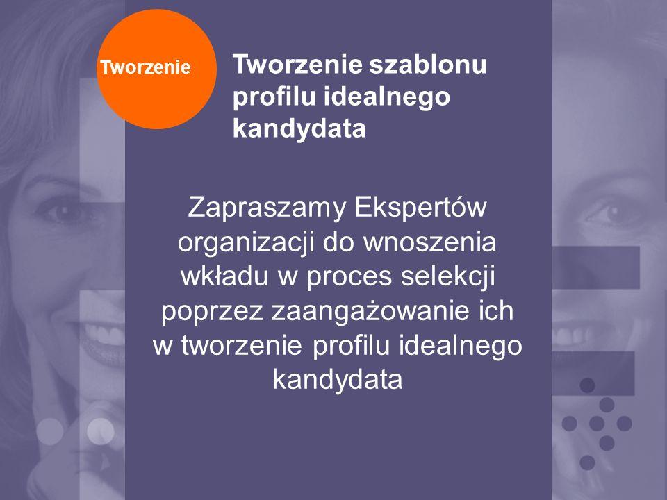 Zapraszamy Ekspertów organizacji do wnoszenia wkładu w proces selekcji poprzez zaangażowanie ich w tworzenie profilu idealnego kandydata Tworzenie Two