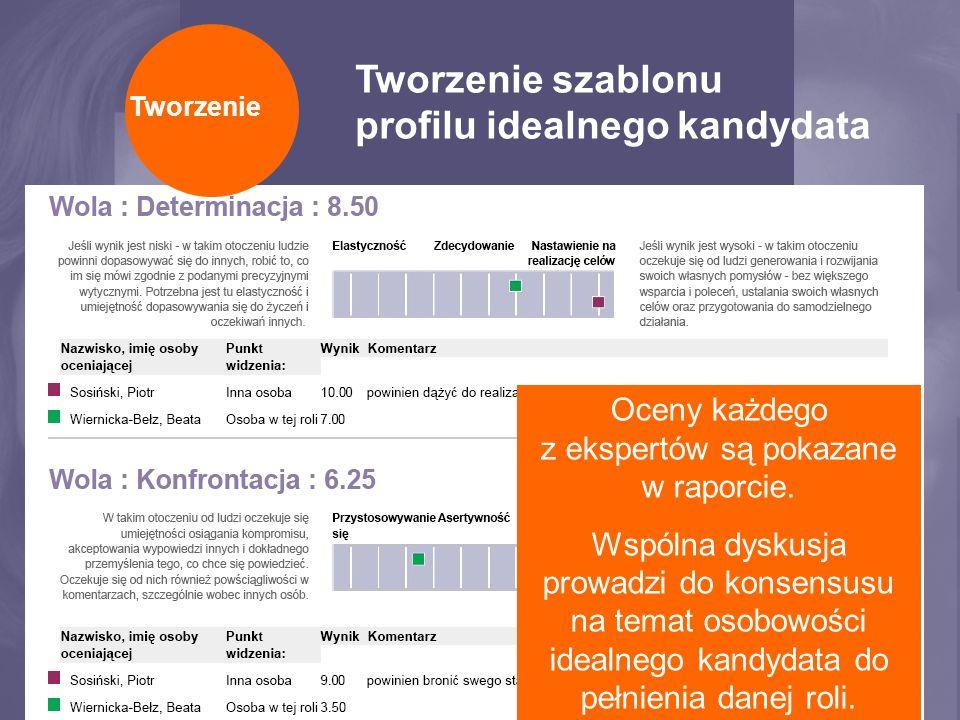 Tworzenie szablonu profilu idealnego kandydata Eksperci uzgadniają 13 krytycznych czynników, na podstawie których tworzy się profil idealnego kandydata create