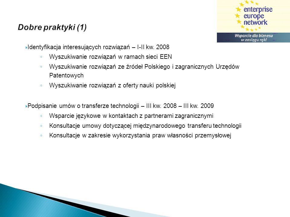 Dobre praktyki (1) Identyfikacja interesujących rozwiązań – I-II kw. 2008 Wyszukiwanie rozwiązań w ramach sieci EEN Wyszukiwanie rozwiązań ze źródeł P