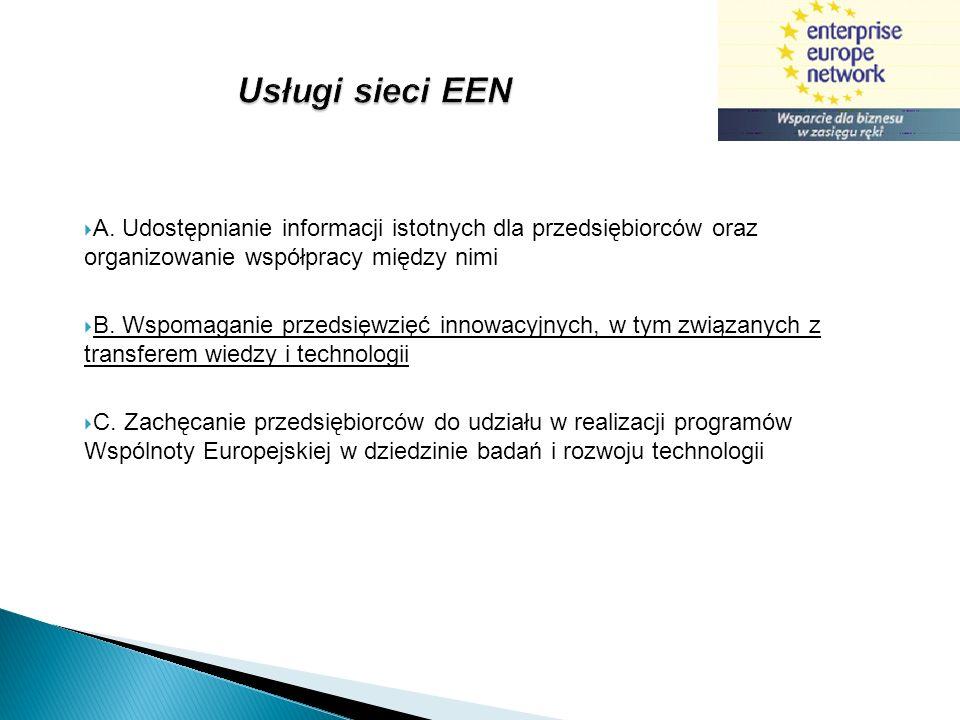 Model współpracy z klientami EEN IDENTYFIKACJA INNOWACYJNYCH FIRM KROK 1 WIZYTA W FIRMIE OCENA TECHNOLOGICZNA IDENTYFIKACJA PROFILI TECHNOLOGICZNYCH KROK 2 POSZUKIWANIE TECHNOLOGIIOFERTA TECHNOLOGII POSZUKIWANIE PARTNERÓW KROK 3 BAZA EEN SPOTKANIA BROKERSKIE MISJE FIRM