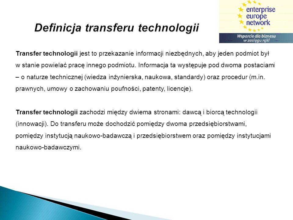 Transfer technologii jest to przekazanie informacji niezbędnych, aby jeden podmiot był w stanie powielać pracę innego podmiotu. Informacja ta występuj