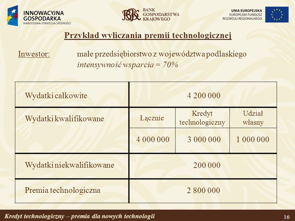 Kredyt technologiczny – premia dla nowych technologii 16 Inwestor:małe przedsiębiorstwo z województwa podlaskiego intensywność wsparcia = 70% Łącznie