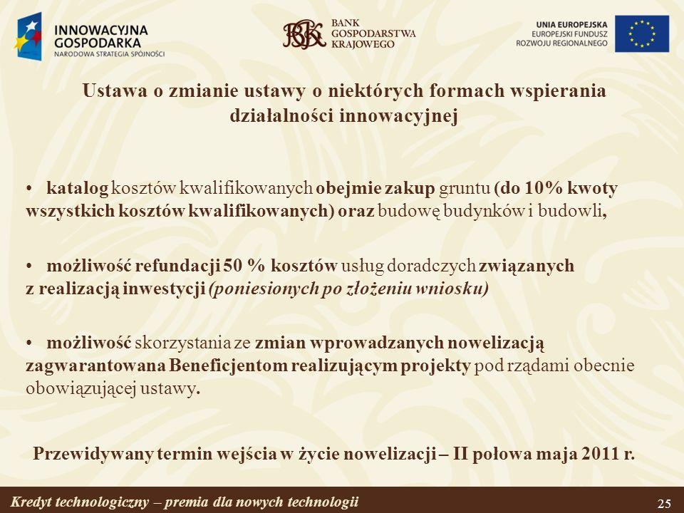 Kredyt technologiczny – premia dla nowych technologii 25 Ustawa o zmianie ustawy o niektórych formach wspierania działalności innowacyjnej katalog kos