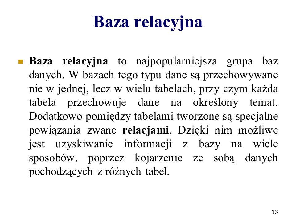 13 Baza relacyjna Baza relacyjna to najpopularniejsza grupa baz danych. W bazach tego typu dane są przechowywane nie w jednej, lecz w wielu tabelach,