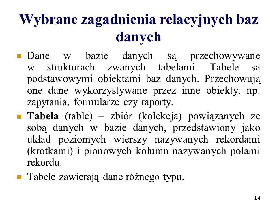 14 Wybrane zagadnienia relacyjnych baz danych Dane w bazie danych są przechowywane w strukturach zwanych tabelami. Tabele są podstawowymi obiektami ba