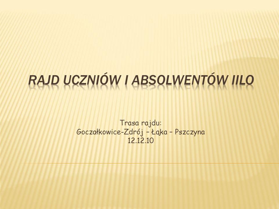 Trasa rajdu: Goczałkowice-Zdrój – Łąka – Pszczyna 12.12.10