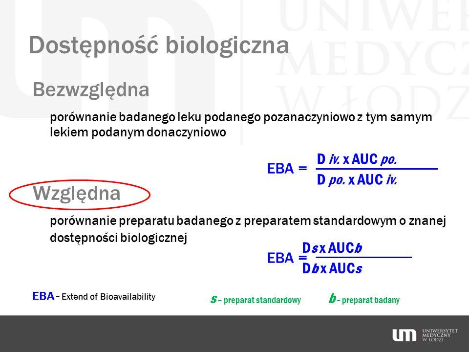 Dostępność biologiczna Bezwzględna porównanie badanego leku podanego pozanaczyniowo z tym samym lekiem podanym donaczyniowo EBA = Względna porównanie