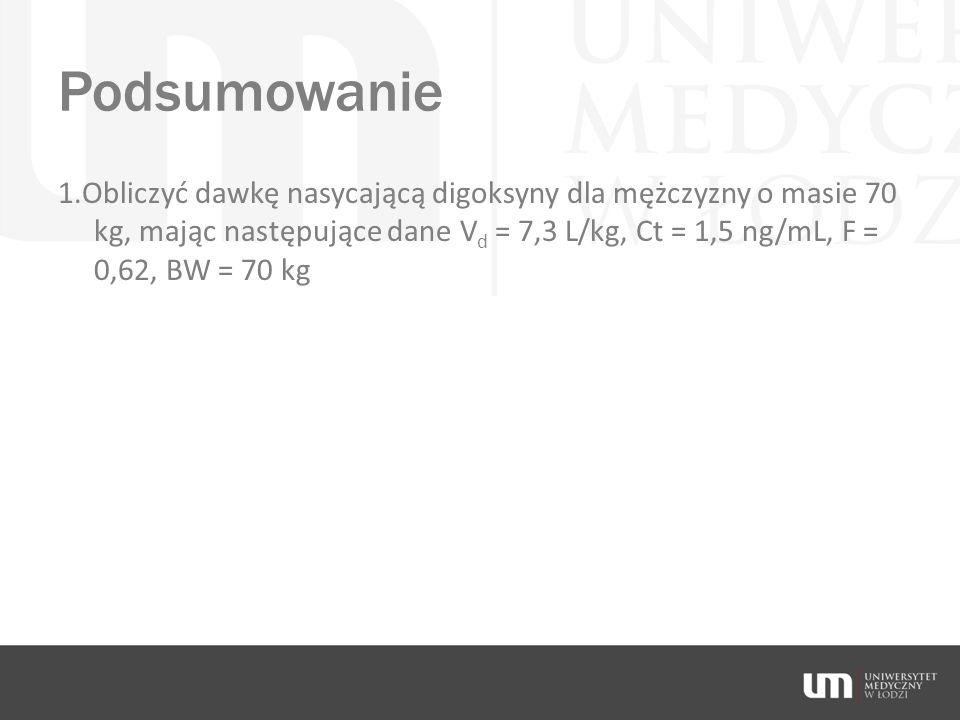 Podsumowanie 1.Obliczyć dawkę nasycającą digoksyny dla mężczyzny o masie 70 kg, mając następujące dane V d = 7,3 L/kg, Ct = 1,5 ng/mL, F = 0,62, BW =