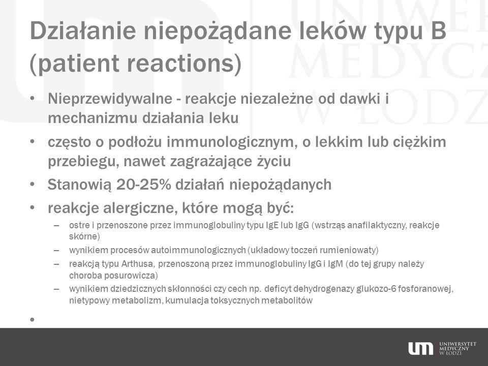 Działanie niepożądane leków typu B (patient reactions) Nieprzewidywalne - reakcje niezależne od dawki i mechanizmu działania leku często o podłożu imm
