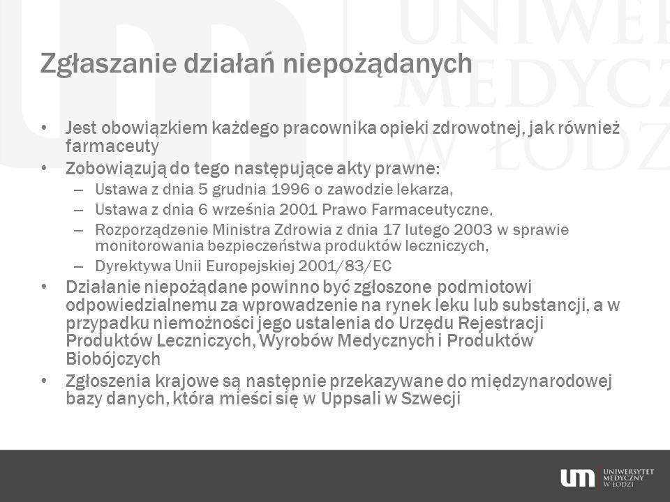 Zgłaszanie działań niepożądanych Jest obowiązkiem każdego pracownika opieki zdrowotnej, jak również farmaceuty Zobowiązują do tego następujące akty pr
