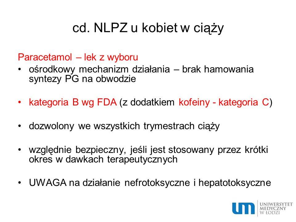 cd. NLPZ u kobiet w ciąży Paracetamol – lek z wyboru ośrodkowy mechanizm działania – brak hamowania syntezy PG na obwodzie kategoria B wg FDA (z dodat