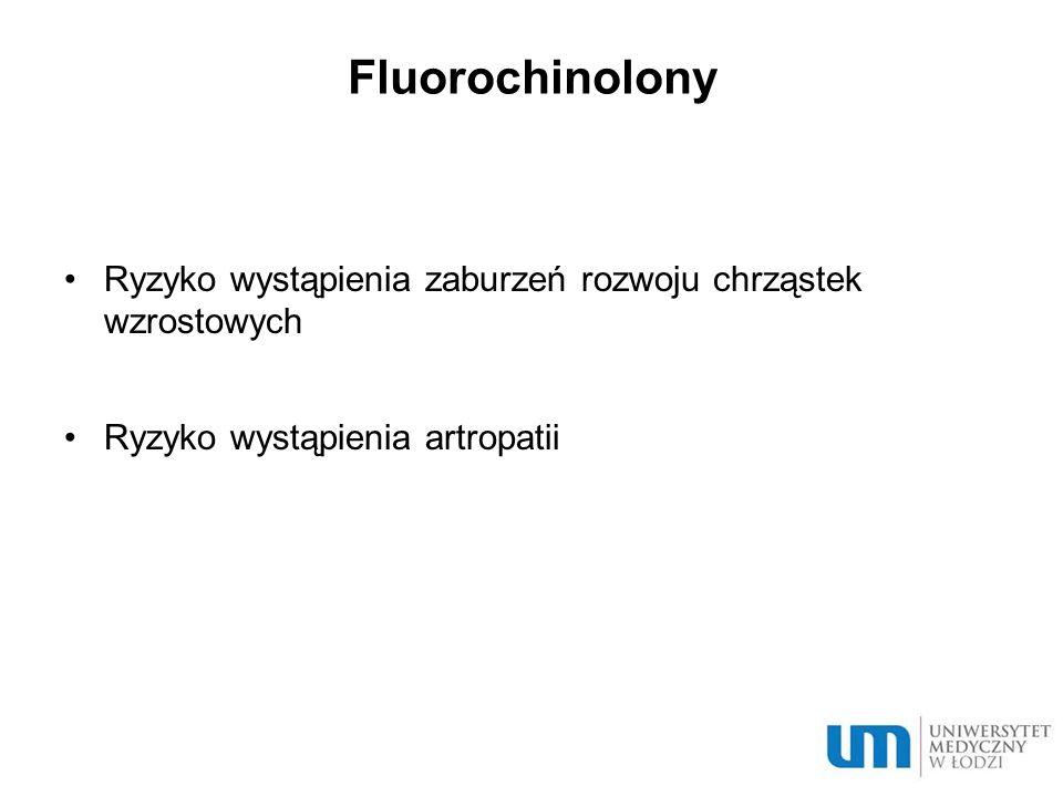Fluorochinolony Ryzyko wystąpienia zaburzeń rozwoju chrząstek wzrostowych Ryzyko wystąpienia artropatii