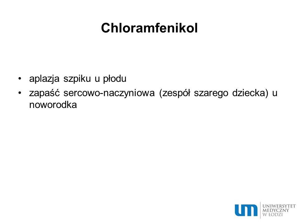 Chloramfenikol aplazja szpiku u płodu zapaść sercowo-naczyniowa (zespół szarego dziecka) u noworodka