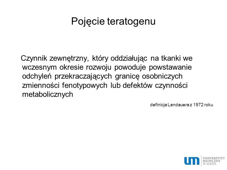 Leki o szczególnie wysokim ryzyku działania teratogennego leki cytotoksyczne leki przeciwpadaczkowe doustne leki przeciwcukrzycowe doustne leki przeciwkrzepliwe retinoidy tyreostatyki metale ciężkie