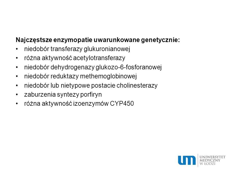 Najczęstsze enzymopatie uwarunkowane genetycznie: niedobór transferazy glukuronianowej różna aktywność acetylotransferazy niedobór dehydrogenazy gluko