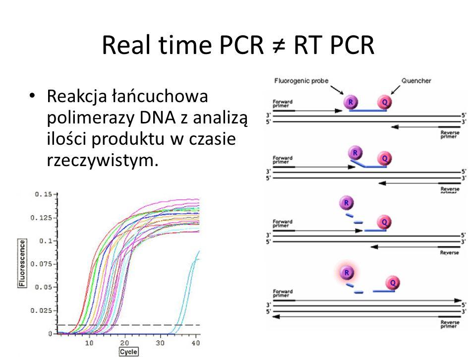 Real time PCR RT PCR Reakcja łańcuchowa polimerazy DNA z analizą ilości produktu w czasie rzeczywistym.