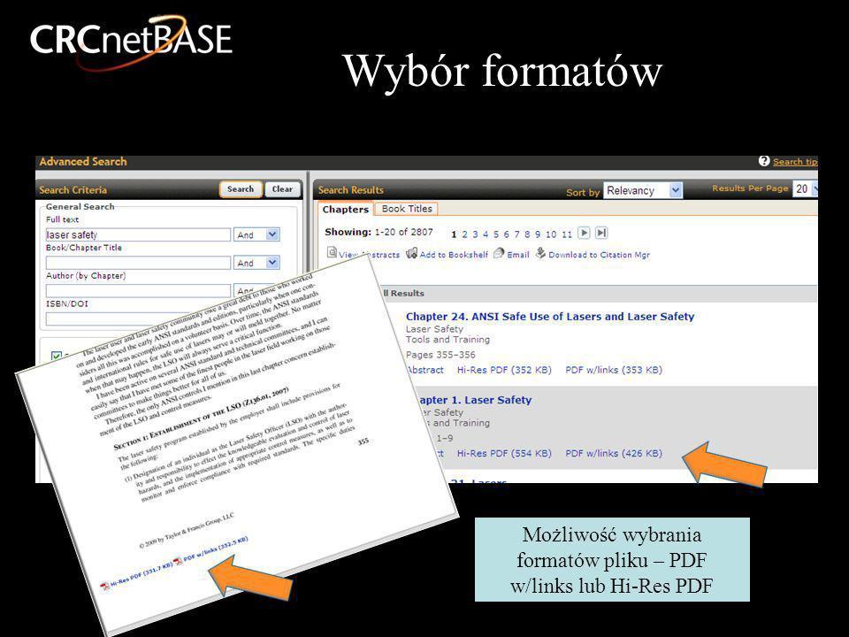 Wybór formatów Możliwość wybrania formatów pliku – PDF w/links lub Hi-Res PDF
