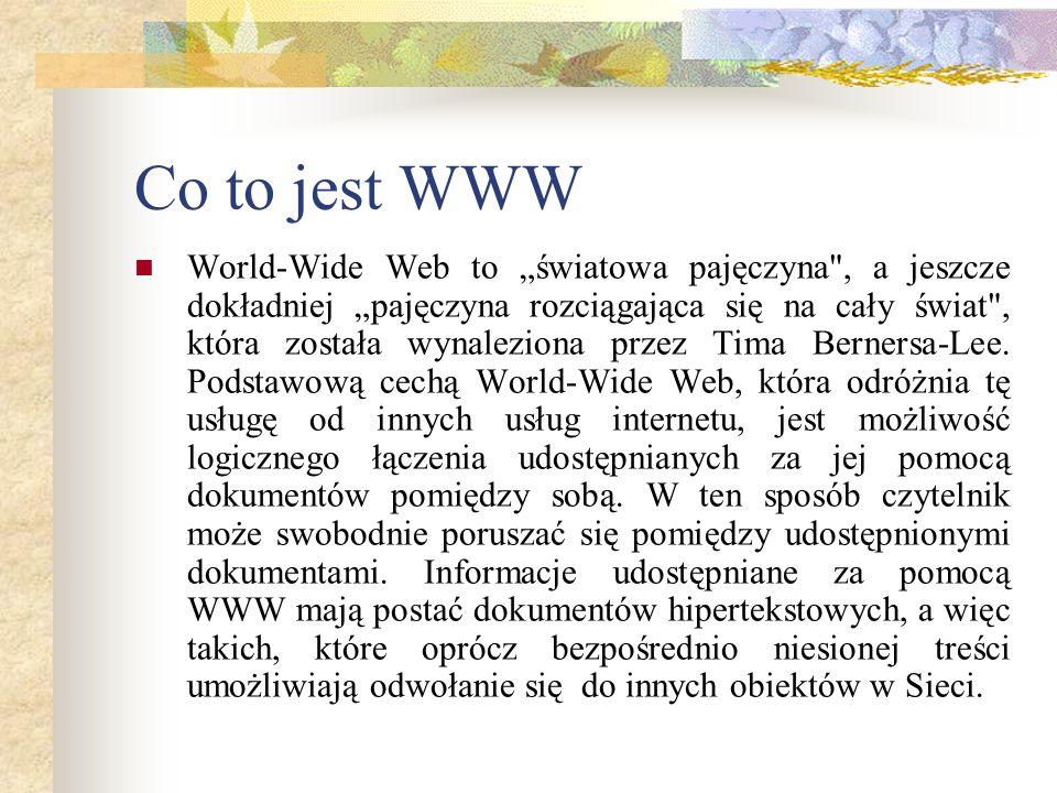 Co to jest WWW World-Wide Web to światowa pajęczyna