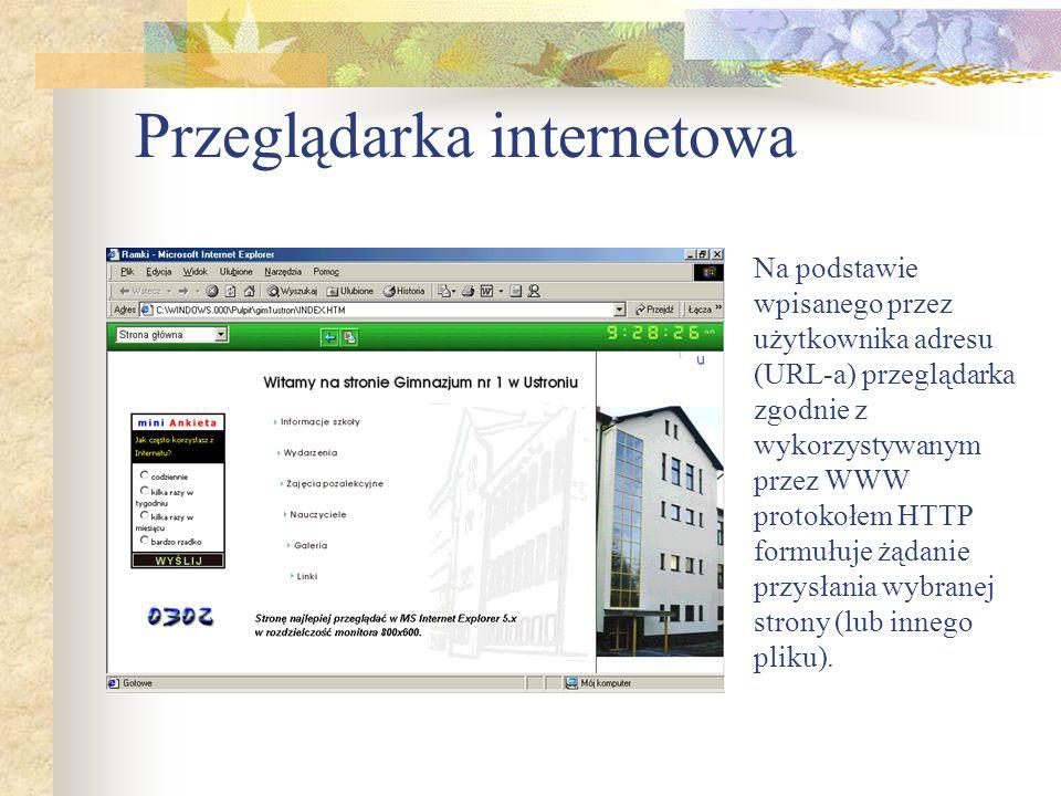 Przeglądarka internetowa Na podstawie wpisanego przez użytkownika adresu (URL-a) przeglądarka zgodnie z wykorzystywanym przez WWW protokołem HTTP form