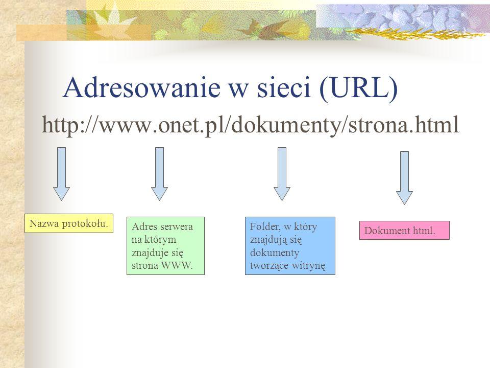 Adresowanie w sieci (URL) http://www.onet.pl/dokumenty/strona.html Nazwa protokołu. Adres serwera na którym znajduje się strona WWW. Folder, w który z