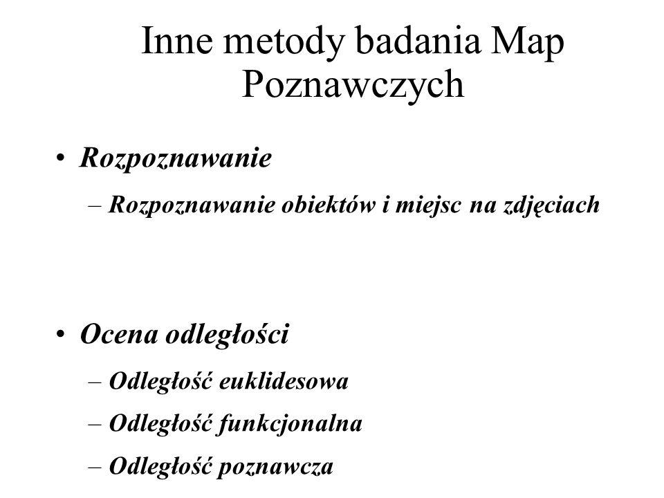 Inne metody badania Map Poznawczych Rozpoznawanie –Rozpoznawanie obiektów i miejsc na zdjęciach Ocena odległości –Odległość euklidesowa –Odległość funkcjonalna –Odległość poznawcza