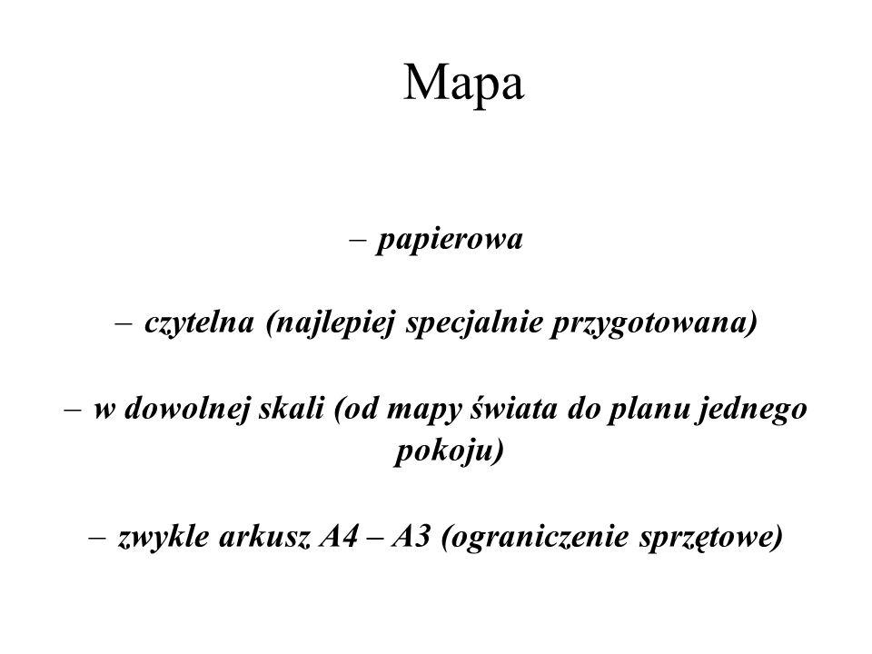 Mapa –papierowa –czytelna (najlepiej specjalnie przygotowana) –w dowolnej skali (od mapy świata do planu jednego pokoju) –zwykle arkusz A4 – A3 (ograniczenie sprzętowe)
