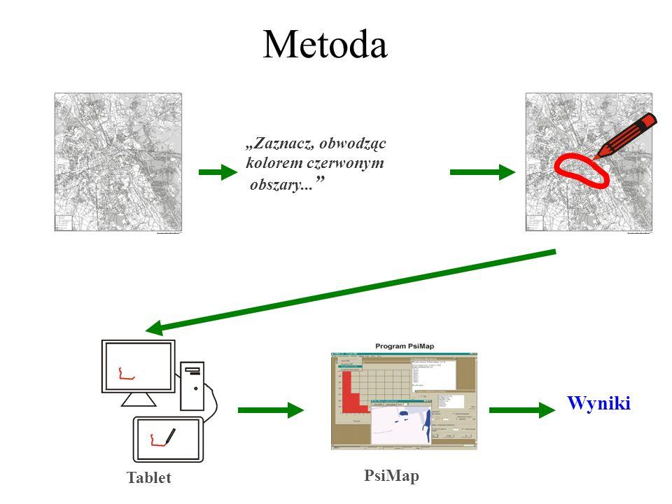 Zaznacz, obwodząc kolorem czerwonym obszary... Metoda Wyniki Tablet PsiMap