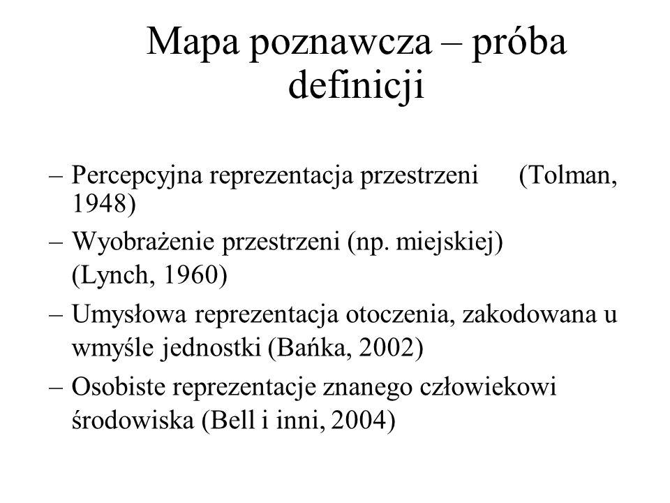 Mapa poznawcza – próba definicji –Percepcyjna reprezentacja przestrzeni (Tolman, 1948) –Wyobrażenie przestrzeni (np. miejskiej) (Lynch, 1960) –Umysłow