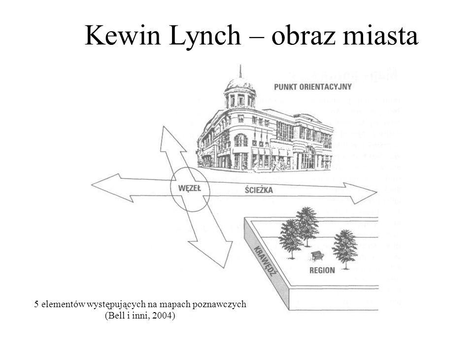 Kewin Lynch – obraz miasta 5 elementów występujących na mapach poznawczych (Bell i inni, 2004)