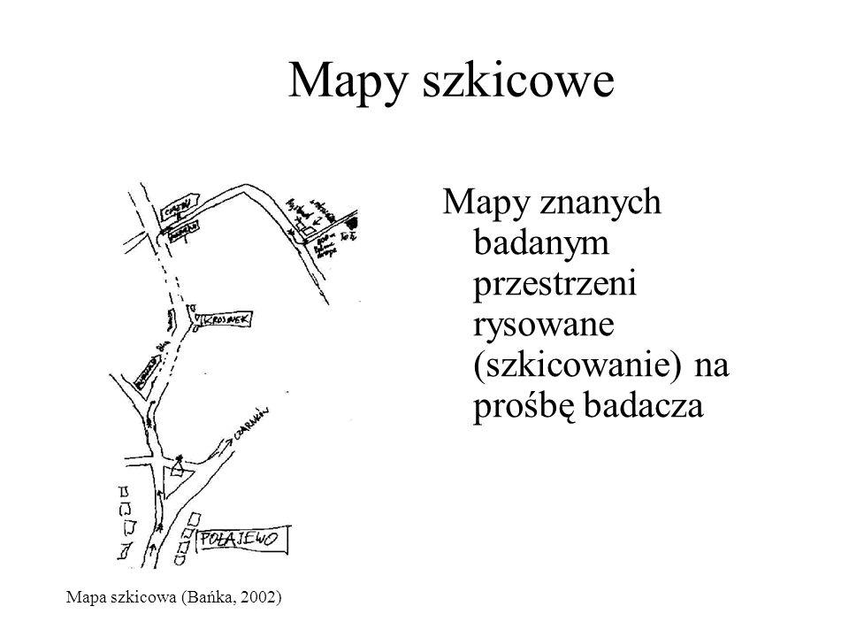 Mapy szkicowe Mapy znanych badanym przestrzeni rysowane (szkicowanie) na prośbę badacza Mapa szkicowa (Bańka, 2002)