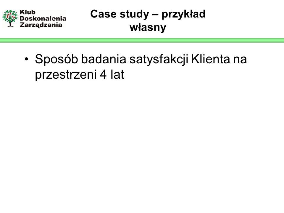 Logo prelegenta Case study – przykład własny Sposób badania satysfakcji Klienta na przestrzeni 4 lat