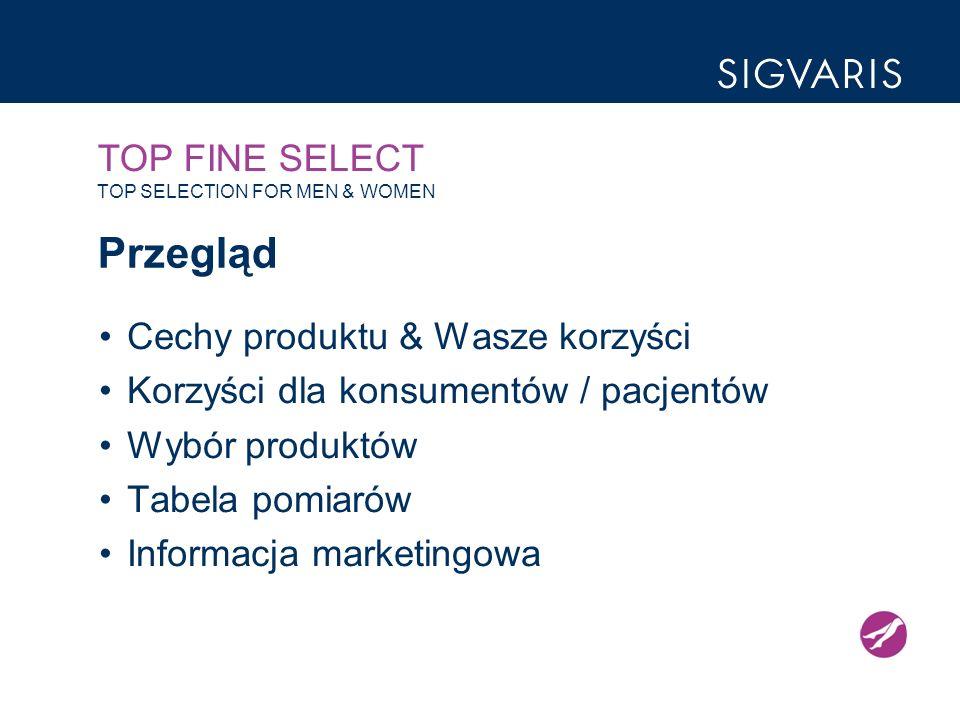 TOP FINE SELECT TOP SELECTION FOR MEN & WOMEN Przegląd Cechy produktu & Wasze korzyści Korzyści dla konsumentów / pacjentów Wybór produktów Tabela pomiarów Informacja marketingowa