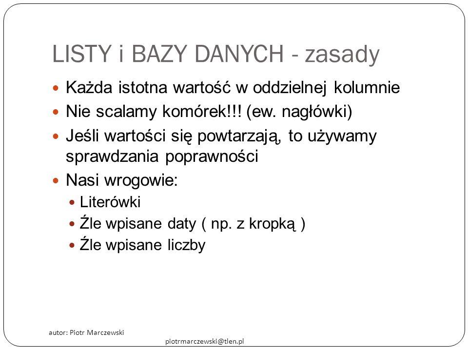 autor: Piotr Marczewski piotrmarczewski@tlen.pl LISTY i BAZY DANYCH - zasady Każda istotna wartość w oddzielnej kolumnie Nie scalamy komórek!!.