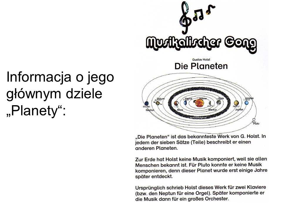 Informacja o jego głównym dziele Planety: