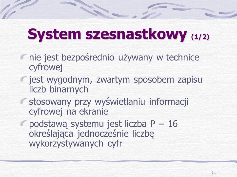 11 System szesnastkowy (1/2) nie jest bezpośrednio używany w technice cyfrowej jest wygodnym, zwartym sposobem zapisu liczb binarnych stosowany przy wyświetlaniu informacji cyfrowej na ekranie podstawą systemu jest liczba P = 16 określająca jednocześnie liczbę wykorzystywanych cyfr