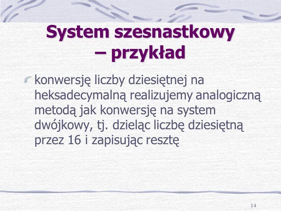 14 System szesnastkowy – przykład konwersję liczby dziesiętnej na heksadecymalną realizujemy analogiczną metodą jak konwersję na system dwójkowy, tj.