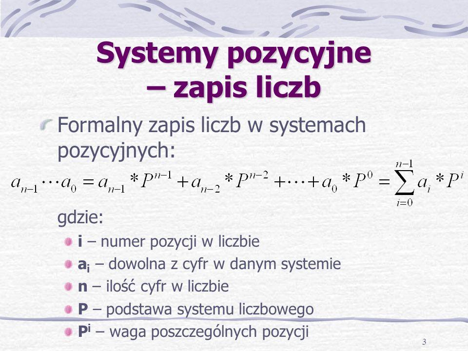 3 Systemy pozycyjne – zapis liczb Formalny zapis liczb w systemach pozycyjnych: gdzie: i – numer pozycji w liczbie a i – dowolna z cyfr w danym systemie n – ilość cyfr w liczbie P – podstawa systemu liczbowego P i – waga poszczególnych pozycji