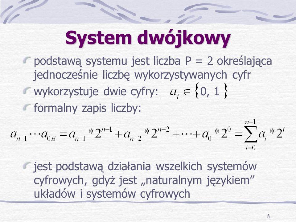 8 System dwójkowy podstawą systemu jest liczba P = 2 określająca jednocześnie liczbę wykorzystywanych cyfr wykorzystuje dwie cyfry: 0, 1 formalny zapis liczby: jest podstawą działania wszelkich systemów cyfrowych, gdyż jest naturalnym językiem układów i systemów cyfrowych